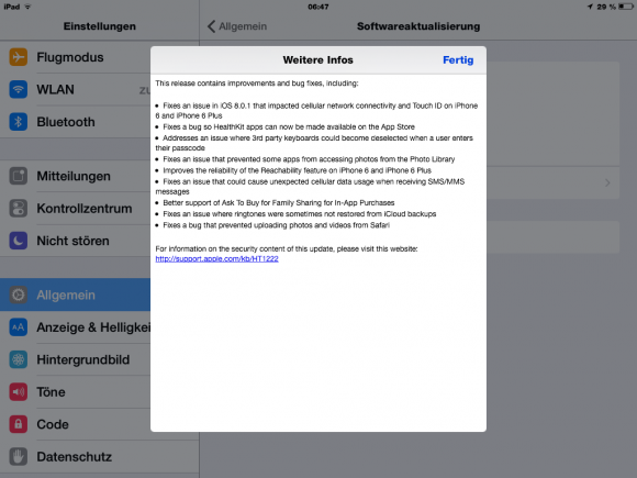 iOS 8.0.2 soll unter anderem die unter iOS 8.0.1 aufgetretenen Probleme mit der Mobilfunkverbindung und Touch ID beheben (Screenshot: ZDNet).