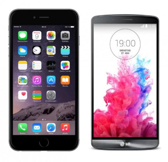 iPhone 6 Plus im Vergleich zum LG G3 (Abbildung nicht maßstabgetreu)