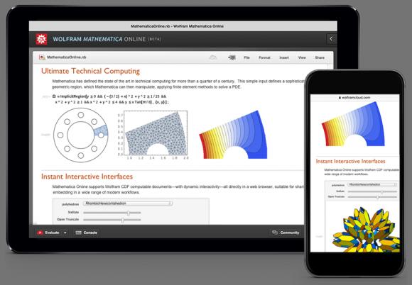 Künftig soll es auch Mobilanwendungen mit nativer Oberfläche für Mathematica Online geben (Bild: Wolfram Research).