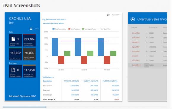 Microsoft Dynamics NAV ERP auf dem iPad (Screenshot: Microsoft).