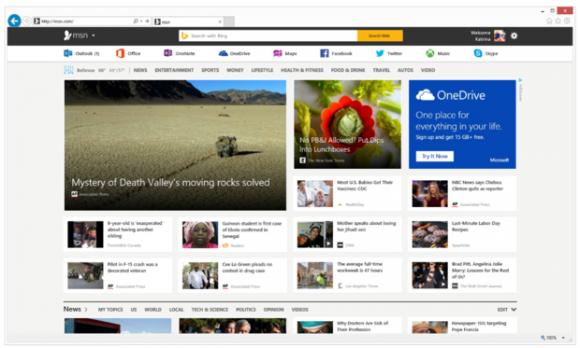 """""""Das neue MSN"""" in der Vorschau (Bild: Microsoft)."""