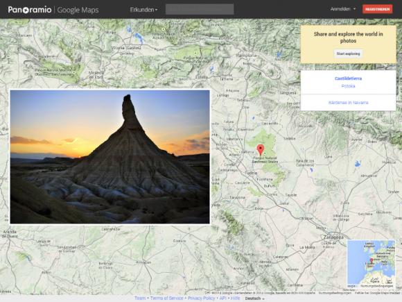 Panoramio umfasst eine Sammlung von über 80 Millionen mit Geodaten versehener Bilder (Screenshot: ZDNet.de).