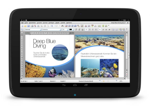 TextMaker HD bietet wie PlanMaker HD und Presentations HD den vollen Funktionsumfang der Windows-Version (Bild: SoftMaker).