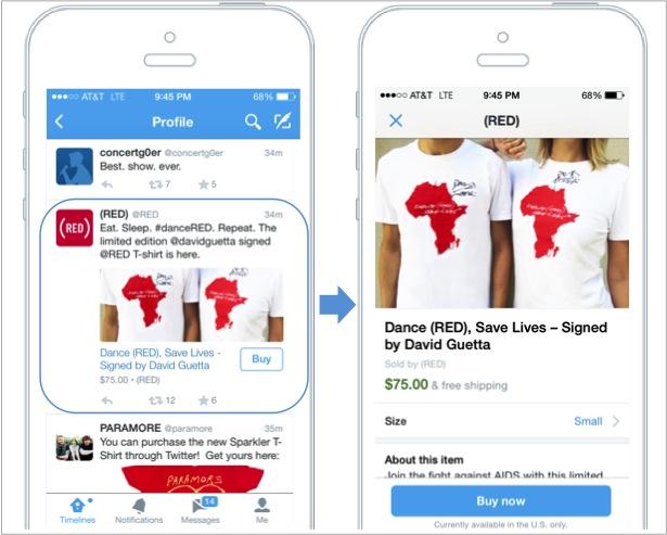 Twitter testet in den USA einen in Tweets eingebetteten Buy-Button (Bild: Twitter).