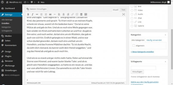 Wordpress 4.0: Editor (Bild: WordPress.org)