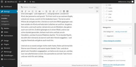 Wordpress 4.0: Editor (Bild: WordPress.org)