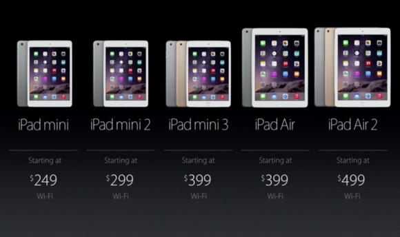Apple iPad-Line-up 2014 (Screenshot: ZDNet)