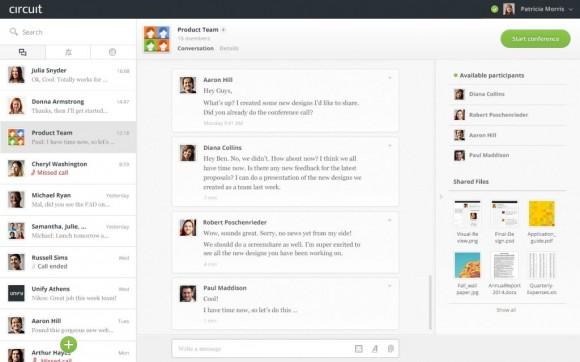 Die zentrale Konversationsansicht von Circuit im Chrome-Browser (Screenshot: Unify).