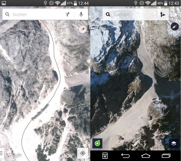 Gegenüber Google Maps (links) bietet Nokia Here eine bessere Kartenqualität. Die Darstellung ähnelt der von Apple Karten (Screenshot: ZDNet.de)