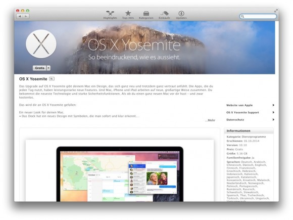 OS X 10.10 Yosemite (Screenshot: ZDNet.de)