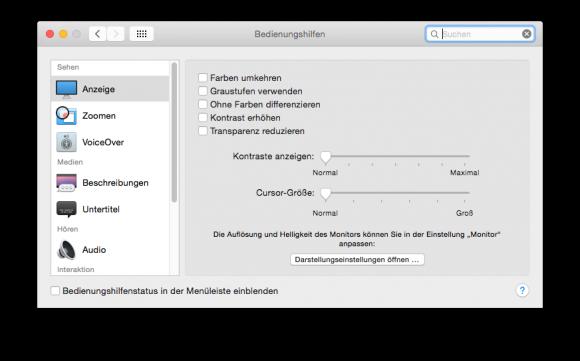"""OS X 10.10 Yosemite: Transparenzeffekte lassen sich in Systemeinstellungen - Bedienungshilfen durch die Aktivierung der Option """"Transparenz reduzieren"""" ausschalten (Screenshot: ZDNet.de)"""