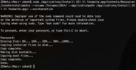 OS X 10.10: createinstallmedia (Screenshot: ZDNet.de)