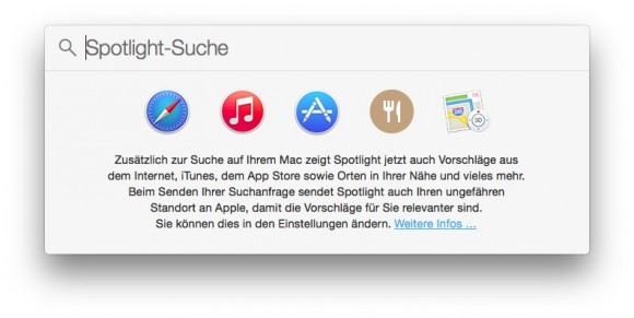 Apple-User kritisieren die Datensammelpraktiken, die für die Anzeige von Suchvorschlägen in Spotlight angewandt werden (Screenshot: ZDNet).