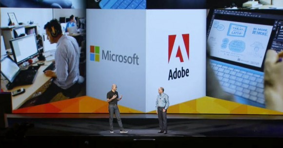 Microsoft-Chef Satya Nadella (links) und Adobe-CEO Shantanu Narayen gaben auf der MAX eine Entwicklungspartnerschaft bekannt (Screenshot: Stephen Shankland/CNET).
