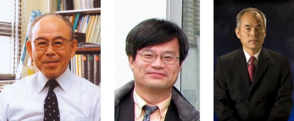 Die beiden Japaner Isamu Akasaki und Hiroshi Amano sowie der Amerikaner Shuji Nakamura (von links nach rechts) sind die diesjährigen Preisträger des Physiknobelpreises (Bilder: Universität Nagoya und University of California Santa Barbara).