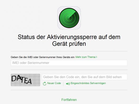 Mit dem neuen iCloud-Tool lässt sich der Status der Aktivierungssperre auf einem iDevice überprüfen (Screenshot: ZDNet.de).