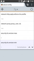 Firefox: Über about:config lässt sich SSL 3.0 abschalten (Bild ZDNet.de)