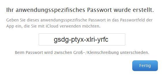 iCloud: bei aktivierter zweistufiger Bestätigung muss für den Zugriff auf iCloud-Daten durch Dritthersteller-Apps ein anwendungsspezifisches Passwort erstellt werden (Bild: ZDNet.de)