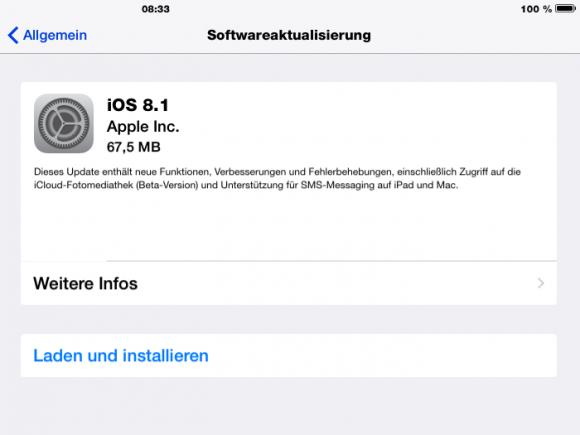 iOS 8.1 bringt Unterstützung für den Bezahldienst Apple Pay und schaltet die Betaversion der iCloud Photo Library frei (Screenshot: ZDNet.de).