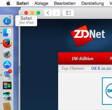 Ist Handoff auf iPad/iPhone und Mac aktiviert, kann man eine Aktivität auf dem einen Gerät beginnen und am anderen beenden (Screenshot: ZDNet.de)