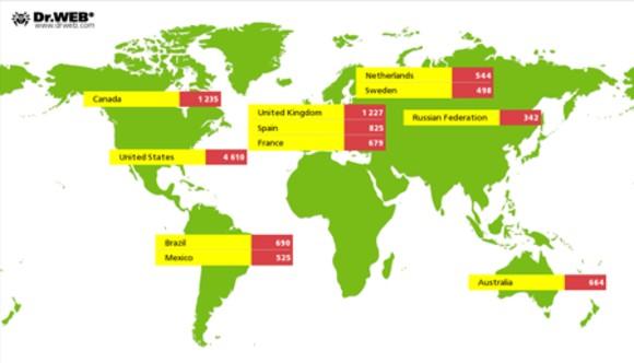 iWorm konnte sich auch in Europa verbreiten (Bild: Dr. Web).