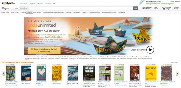 Amazons E-Book-Flatrate Kindle Unlimited bietet Zugriff auf 650.000 Titel (Screenshot: ZDNet.de).