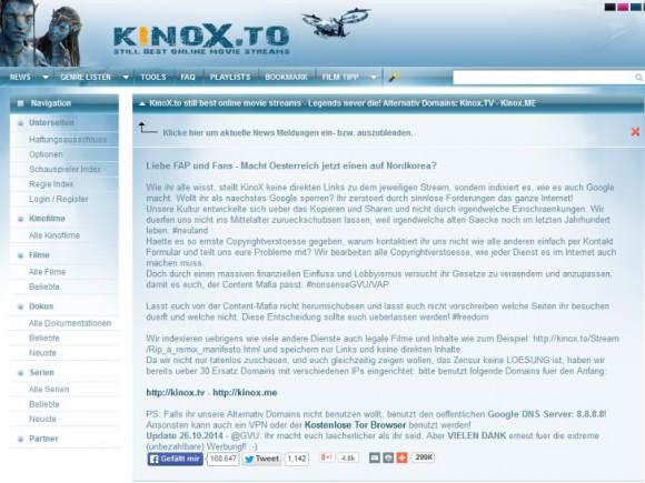 Aktuell sind die zwei noch nicht gefassten Betreiber von kinox.to offenbar guten Mutes, die gegen sie erhobenen Anschuldigungen entkräften zu können (Screenshot: ZDNet.de).