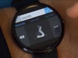 Buchstabe für Buchstabe kann der Nutzer auf der von Microsoft Research entwickelten Android-Wear-Tastatur Text handschriftlich eingeben (Screenshot: ITespresso via Youtube).