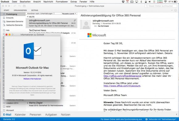 Outlook für Mac (Screenshot: ZDNet.de)