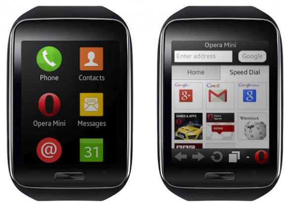 Opera Mini ist der erste Webbrowser für Samsungs Gear S (Bild: Opera).