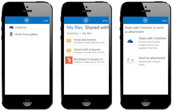 OWA und OneDrive for Business bieten nun erweiterte Dateitauschfunktionen (Bild: Microsoft).