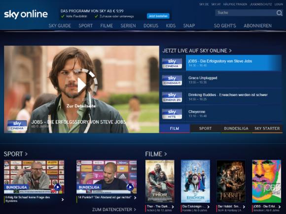 Sky Online steht auch Nutzern ohne Sky-Abo offen (Screenshot: ZDNet.de).