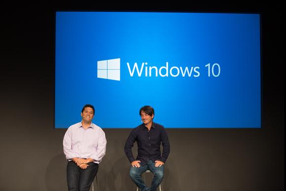 Die Microsoft-Manager Terry Myerson und Joe Belfiore haben in San Francisco Windows 10 vorgestellt (Bild: Microsoft).