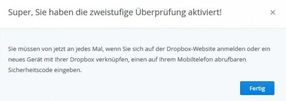 Dropbox: Zwei-Faktor-Authentifizierung schützt vor unberechtigtem Zugriff (Screenshot: ZDNet.de)