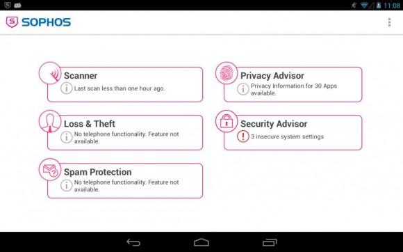 Dashboard der Mobile-Security-Lösung für Android (Bild: Sophos).