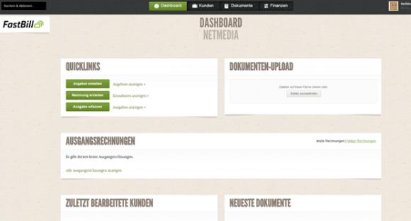 """Das Dashboard von Fast Bill gibt Auskunft über die neusten und wichtigsten Ereignisse und leitet weiter zu den Grundfunktionen wie """"Angebot"""" und """"Rechnung erstellen"""" (Screenshot: Mehmet Toprak)."""