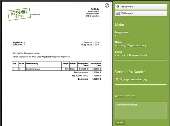 """Wurde eine Rechnung bezahlt, kann man sich in Fast Bill ein Dokument mit einem """"ist bezahlt"""" Druck erzeugen lassen (Screenshot: Mehmet Toprak)."""
