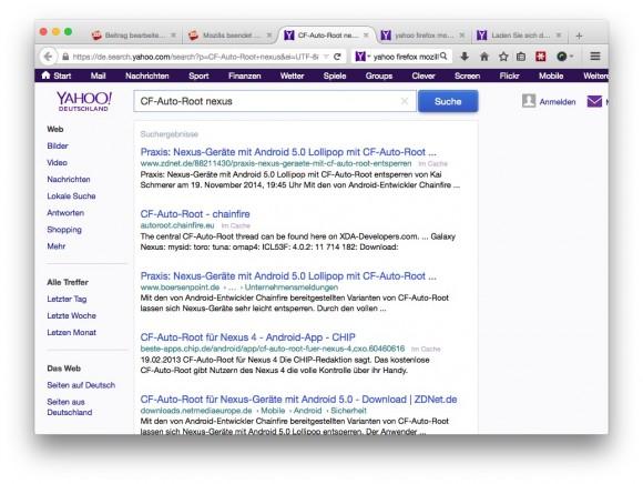 Firefox kooperiert mit Yahoo (Screenshot: ZDNet.de)