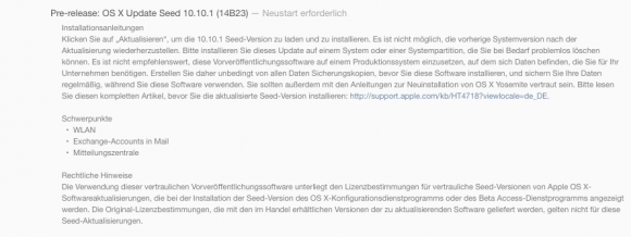 OS X Yosemite 10.10.1 Beta (Screenshot: ZDNet.de)