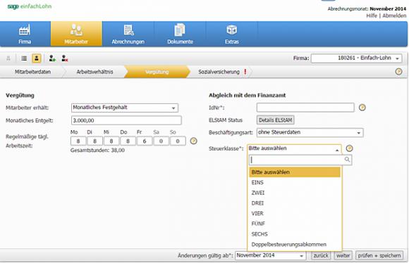 """Die Software """"einfach Lohn"""" lässt eine individuelle Festlegung von Arbeitsstunden, Urlaubstagen, etc. zu (Screenshot: Mehmet Toprak)"""