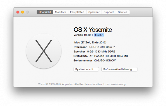 OS X 10.10.1 (Screenshot: ZDNet.de)