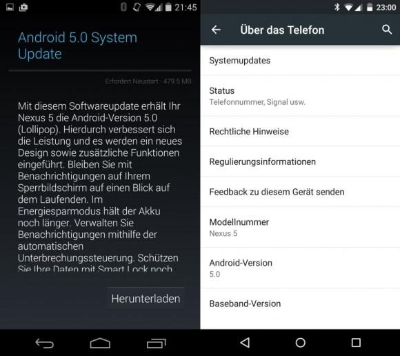 Google hat nun auch hierzulande mit der Verteilung der OTA-Updates von Android 5.0 Lollipop für die Nexus-Geräte begonnen (Bild: CNET.de).