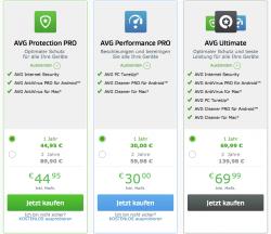 Die neuen Security- und Performance-Pakete von AVG (Screenshot: CNET)