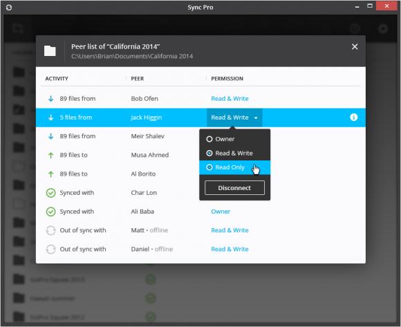 Vereinfachte Freigaben in BitTorrent Sync 2.0 (Bild: BitTorrent)