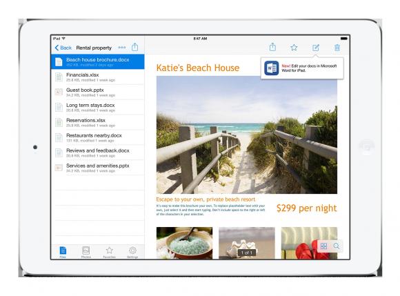 Nutzer können Office-Dokumente künftig direkt in ihrer mobilen Dropbox-App bearbeiten (Bild: Microsoft).