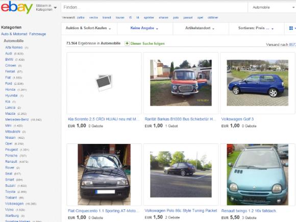 Auf Ebay werden zahlreiche Autos zu einem Startpreis von einem Euro angeboten  (Screenshot: ZDNet.de).