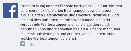 Facebooks Mitteilung zur anstehenden Änderung der Nutzungsbedingungen (Screenshot: ITespresso.de).