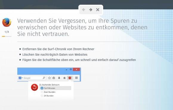 Der Vergessen-Button erlaubt es, den Browserverlauf eines vorgegebenen Zeitraums zu löschen (Bild: Mozilla).