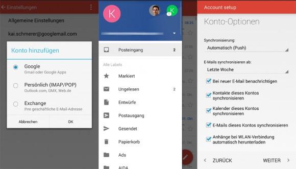 Gmail 5.0 für Android unterstützt auch IMAP/POP und Exchange-Konten (Bild: ZDNet.de)