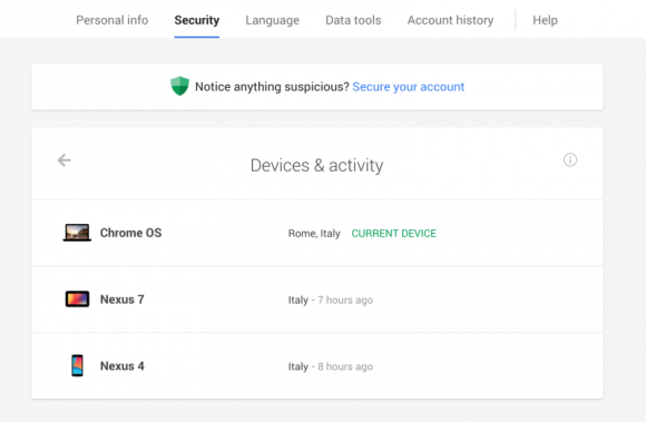 """Dashboard """"Geräte und Aktivitäten"""" in Google for Work (Bild: Google)"""